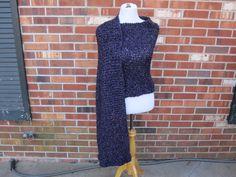 Handmade Wrap Knit Shawl in Purple Plum Gothic Homespun Prayer Shawl a Pocket or not by PoppyLesti on Etsy