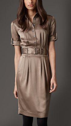 LOVE - Burberry Silk Belted Shirt Dress