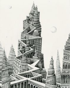 Ad Infinitum: Pen & Ink Drawings by Benjamin Sack Depict Infinite Cityscapes (Colossal) Fantasy Drawings, Fantasy Kunst, Fantasy Art, Amsterdam, Ink Pen Drawings, Colossal Art, Unusual Art, Ink Illustrations, City Art