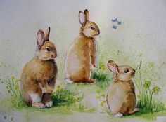 Nursery art, cottage decor, rabbits, Original watercolour painting baby bunnies 12x16 inches, green, brown, cute