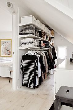Add style and storage space to your bed room with these open closet designs nordic house - open closet design. I think I might use this idea when I finally turn the spare bedroom into a closet/dressing room. Attic Closet, Wardrobe Closet, Master Closet, Closet Bedroom, Open Wardrobe, Wardrobe Ideas, Closet Wall, Small Walk In Wardrobe, Diy Bedroom