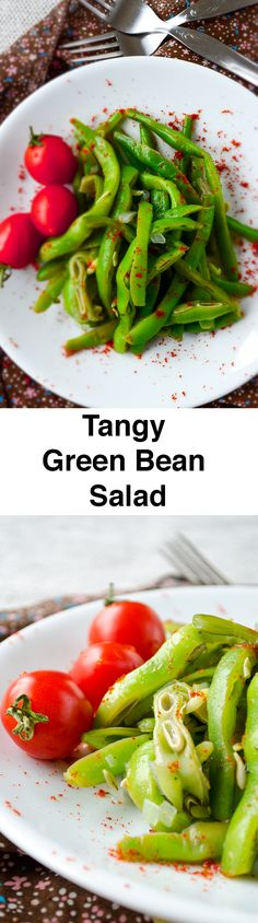 angy Green Bean Salad with chili makes a perfect vegetarian dish or summer side dish.