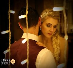 Closeup of Bride and Groom with fairy lights