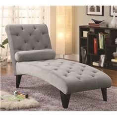 "Accent Seating Velour Tufted Chaise  Width (side to side)	27.5"" W  Height (bottom to top)	36"" H  Depth (front to back)	64"" D  Fabric Fabric Pattern	Solid Grey"