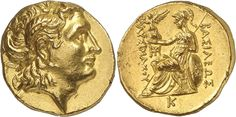 GREEK. Kingdom of Thrace, Lysimachos (323-281 B.C.), Gold Stater, 8.50g, 11h. Mint of Pella, struck c.286/5-282/1 B.C. Head of Alexander the Great facing right, wearing a diadem and the horn of Ammon. Rev. BAΣIΛEΩΣ ΛYΣIMAXOY, Athena, helmeted, enthroned to left, holding Nike in her outstretched right hand and resting her left elbow on a shield at her side, behind her rests a spear, a monogram in inner left field, Π on throne, K in exergue Numismatic Coins, Greek History, Gold And Silver Coins, Alexander The Great, Ancient Greece, Precious Metals, Horns, Character Art, Monogram