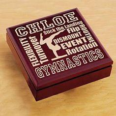 Wood Sports Keepsake Box - Gymnastics