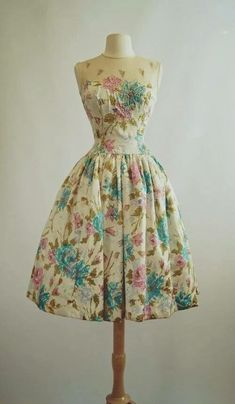 Multicolor Blue and Pink Floral Ivory Dress w/ See Through Top, Sleeveless Vintage 1950s Style Short Formal Dress