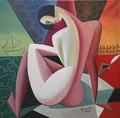 Catawiki online auction house: R. Cubist Art, Modern Art Paintings, Abstract Canvas Art, Art Sketchbook, Figure Painting, African Art, Female Art, Flower Art, Watercolor Art