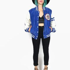 80s Blue Suede Leather Varsity Letterman Jacket Sporty Color Blocked Baseball Quilted Winter Jacket (M)