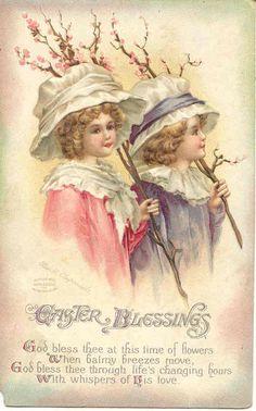 """"""" Easter Blessings """" Karodens Vintage Post Cards."""