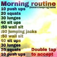 """""""This is a great everyday morning routine! It will really get the heart pumping! Double tap and tag a friend that would love this! @6packsecrets"""""""