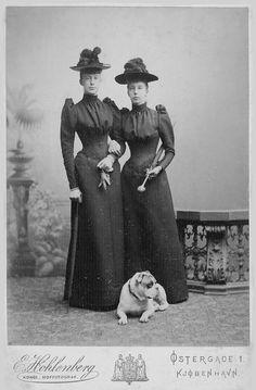 Princess Waldemar of Denmark (Marie d'Orléans) & her sister Princesse Marguerite d'Orleans by E. Hohlenberg of Copenhagen