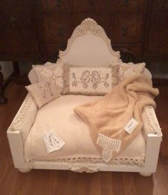 """The French country"", heirloom quality, pet lounger (*or doll bed), white wood, LARGE size luxury bed adorned with a variety vintage linen accents in natural tones. Hand-inked mini's and accent pillows included as shown. Very elegant! *front view"