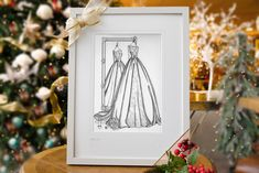 This glorious wedding dress was amazing to illustration - packed with beautiful details like lace sleeves, a duchess satin overskirt, lace underskirt and oversized sash n' bow. LOVED it! If you think your wife, best friend, sister or daughter would delight in seeing her wedding day style captured in an Irish fashion illustration please get in touch. Christmas is fast approaching I ship worldwide. weddingdressink.com/shop/mirror-view-sketch #christmasgiftideas #christmas2020 #christmasgifts