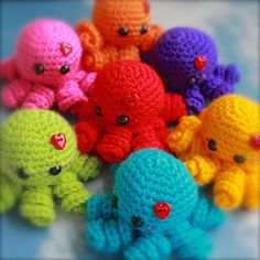 Mini Rainbow Octopus Amigurumi  You Choose The Colour  by EssHaych - £5.50