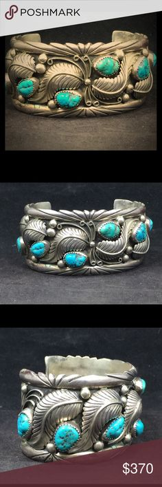 Stunning Navajo turquoise cuff bracelet Beautiful, and heavy , 925 sterling silver cuff bracelet with natural turquoise.  Has a stamp that I cannot identify-this bracelet needs to be shown off! Native American Jewelry Bracelets
