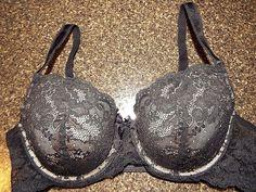 Victorias secret Angel Lined demi Bra 36 C, Black lace EUC, Beautiful #VictoriasSecret #Demis