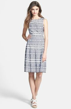 Ivanka Trump Cotton Eyelet Fit & Flare Dress available at #Nordstrom