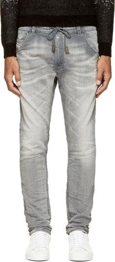 DIESEL Grey Faded Krooley-Ne Jogg Jeans. #diesel #cloth #jeans