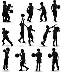 Vectores libres de derechos: Kids Playing Basketball