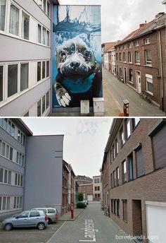 Mural de cachorro em Mechelen, Bélgica
