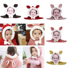 Eared Rabbit Style Kids Child Girl Plush Knitting Hat Warm Cap Shawl Wrap Cappa