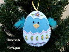 Charming Chick Hatchling Felt Ornament by HandmadeHomespun on Etsy, $17.00
