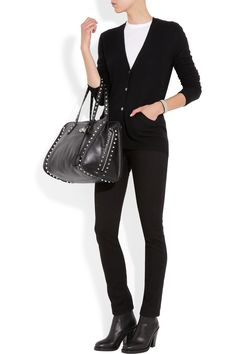 Equipment|Sullivan cashmere cardigan, T by Alexander Wang top, Acne jeans and boots, and Alexander McQueen bag.