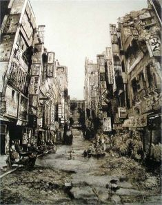Neo-Ruins of Tokyo by Hisaharu Motoda (元田久治) Ages Of Man, Ruined City, Abandoned Cities, Old Faces, Post Apocalypse, City Landscape, Urban Sketching, Environment Design, City Buildings