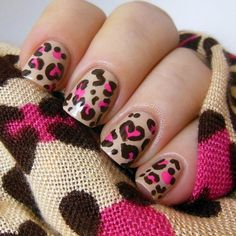 Generally, people thought nail art can be possible on long nails But actually, it's not so! Simple nail art designs for short nails are not only popular Cheetah Nail Designs, Leopard Nail Art, Leopard Print Nails, White Nail Art, Pink Cheetah, Leopard Prints, Black Nail, Simple Nail Art Designs, Cute Nail Designs