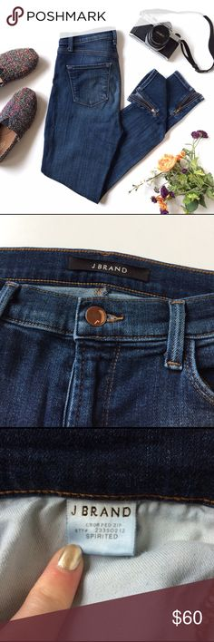"""J Brand Spirited Crop Zip Made with incredibly soft stretch denim, this pair of high-rise jeans is washed to a mid-shade indigo that's lightly faded through the thigh. The jeans have a cropped inseam with an ankle zipper. 10"""" rise and 27"""" inseam. J Brand Jeans Skinny"""