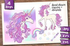 Unicorn and Rainbow set  @creativework247