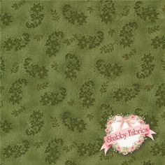 """Ellie Ann 1233-44 Twilight Moss By Eleanor Burns For Benartex: Ellie Ann is a collection by Eleanor Burns for Benartex.  100 % cotton.  43/44"""" wide.  This fabric features a green paisley on a mottled green background."""