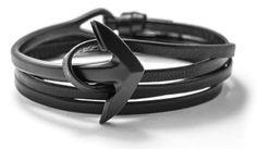 Gun Metal Anchor Half-Cuff Black Leather Bracelet