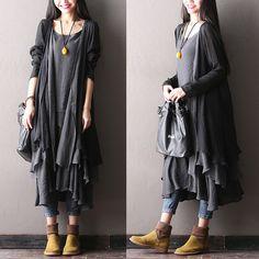Les femmes robe de coton 100% (manteau et gilet)