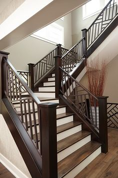 Viewing Album: In The Woods – staircase Staircase Interior Design, Interior Stair Railing, Home Stairs Design, Balcony Railing Design, Bedroom False Ceiling Design, House Design, Wooden Staircase Railing, House Staircase, Staircase Remodel