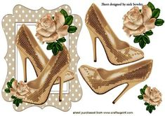 PRETTY GOLD SPARKLE SHOES WITH RAINBOW ROSE on Craftsuprint - Add To Basket!