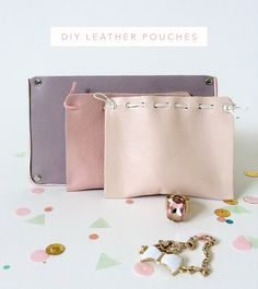 Make Adorable Leather Pouches to Store your Treasures with 2 pieces of leather, leather cord, glue and a few studs. Very easy tutorial.