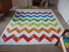 Half-Square Triangle Chevron Quilt