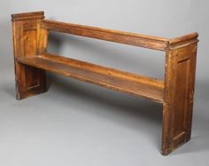 "Lot 919, A pair of Victorian pine pews with raised backs 75 1/2"" x 75""l x 15 1/2""d, est £250-350"