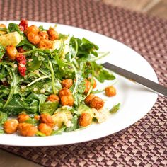 Vegan Arugula Quinoa Avocado Salad with Chickpea Croutons Gluten Free