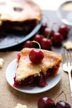 Cherry Pie with Coconut Cream (vegan)