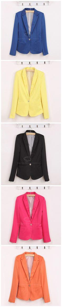 V-Neck Single Button Long Sleeves Multicolor Cotton Blend Women's Blazer