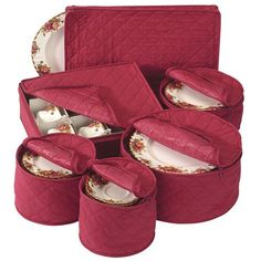 Quilted China Keepers 6pc. Starter Set  Crimson