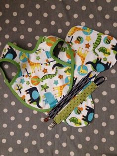 Zoo Animal Baby Boy Bib Paci Clip and Burp Cloth by Polkadotologie, $20.00