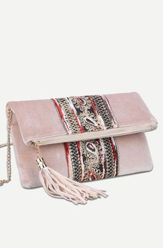 Tassel Detail Fold Over Velvet Clutch Bag
