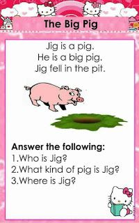 English reading passages with CVC and Dolch Sight words for beginning readers. It contains comprehension questions for comprehension check. 1st Grade Reading Worksheets, Grade 1 Reading, Kindergarten Reading Activities, Reading Comprehension Worksheets, Phonics Reading, Reading Passages, Kids Reading, Card Reading, Kindergarten Syllabus
