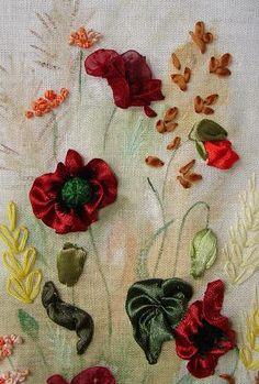 I ❤ ribbonwork . . . silk ribbon, ribbon embroideri