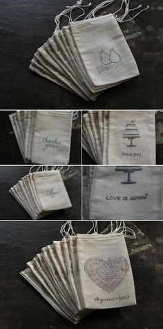 Great Find – Hand Stamped Muslin Bags for the Adorable Details » Alexan Events | Denver Wedding Planners, Colorado Wedding and Event Planning