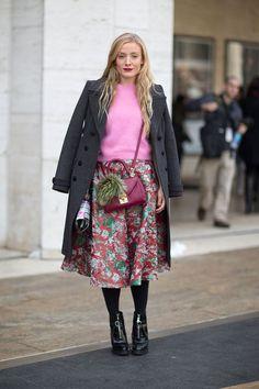 Kate Foley with a Mark Cross bag and Prada shoes, New York Fashion Week Street Style [Photo: Diego Zuko]: